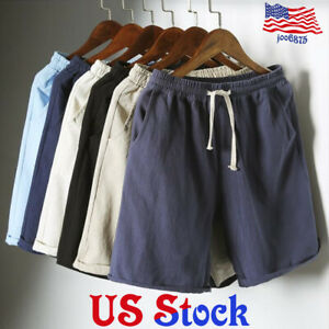 Men-039-s-Natural-Drawstring-Shorts-Casual-Flat-Front-Fifth-Pants-Comfy-Jogger-Gym