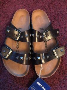 f423edacf8a4 Image is loading Birkenstock-Arizona-Studded-Black-Leather-Sandals -Brand-New-