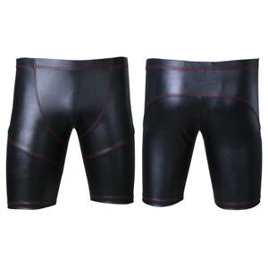 Männer Glanz Boxer Shorts Hot Pants Kurz Hose Boxershorts Ledershorts mit Tasche