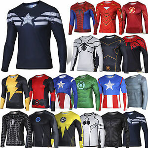 Mens-Marvel-Compression-Base-Layer-Gym-Top-Superhero-Long-Sleeve-Sport-T-shirt