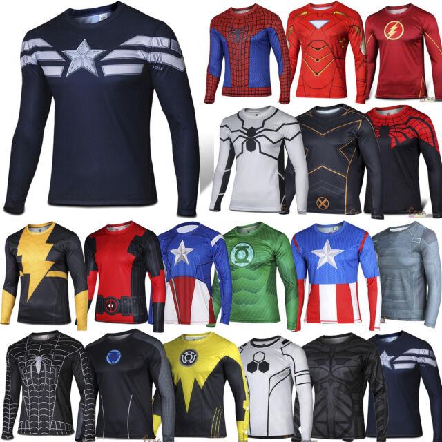 Men T-Shirt Long Sleeve Compression Top Superhero Avengers Marvel Fitness Base T