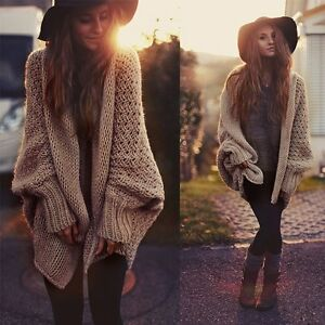 Ladies-Jumper-Cardigan-Outwear-Coat-Long-Sleeve-Oversized-Loose-Knitted-Sweater