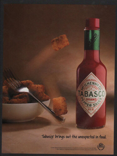 TATER TOTS ATTRACTED TO TABASCO SAUCE VINTAGE ADVERTISEMENT 1993 TABASCO Sauce