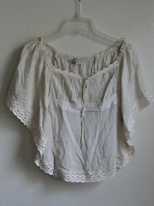 GUESS-SHORT-SLEEVE-BATWING-CAMI-TOP-BLOUSE-Vanilla-Beige-Size-XS-MSRP-89