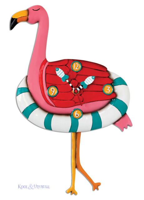 "Hilarious Pink ""Flamingo Floaty"" Designer Wall Clock by Allen Designs"