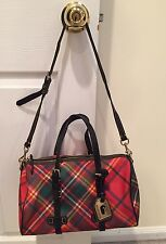 DOONEY & BOURKE Green/Red/Yellow Tartan Plaid Leather Trim Shoulder Bag Purse