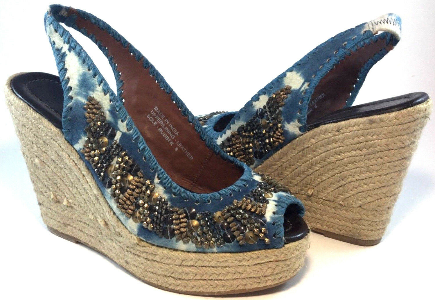 Bacio 61 Dalmine bluee Tie Dye Leather Beaded Peep Toe Platform Wedge Sandal Sz 8