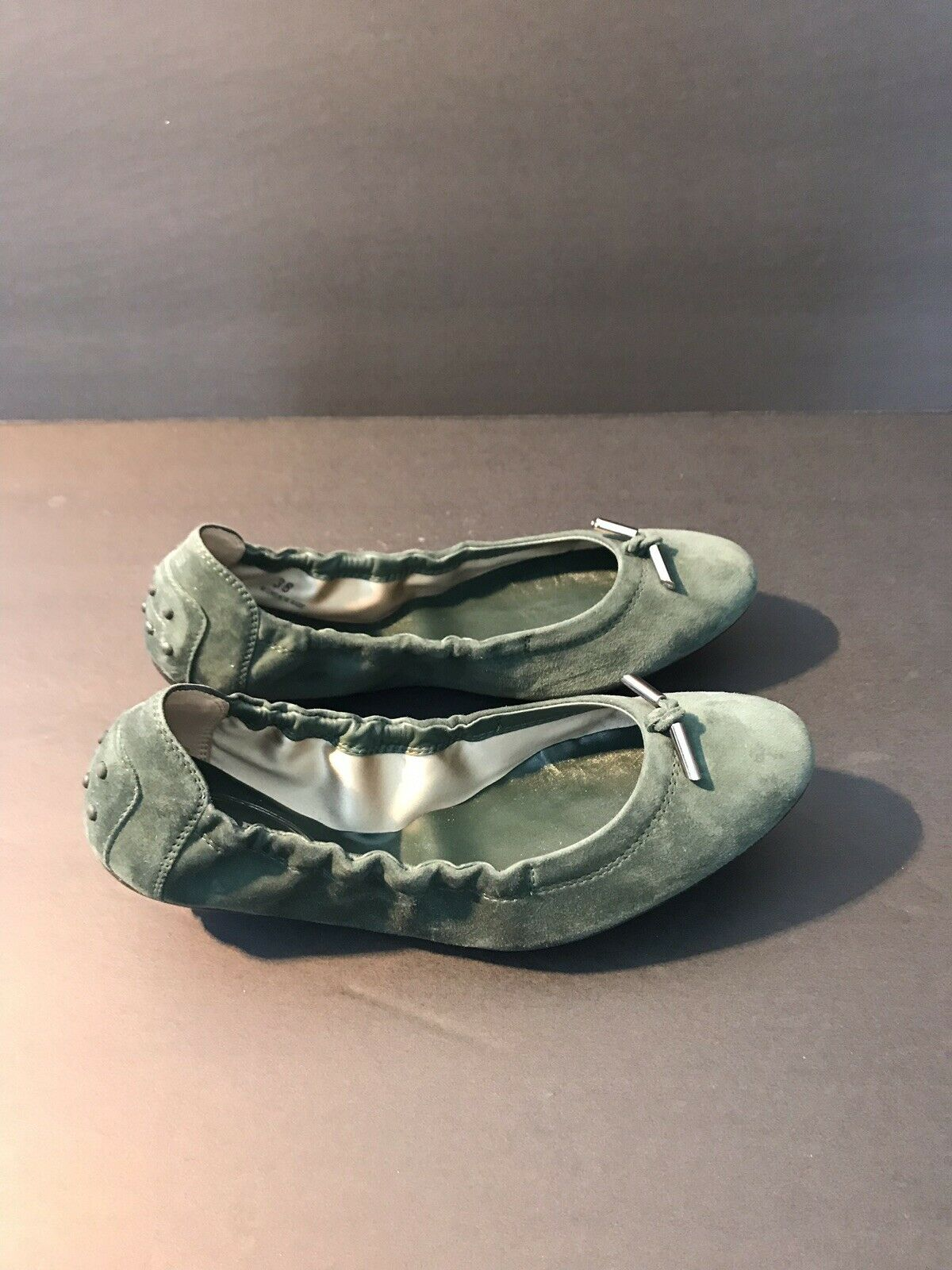 New Tod's Dee Laccetto Dark Dark Dark Green Ballerina Flats shoes With Front Ties Size 39 c307ed