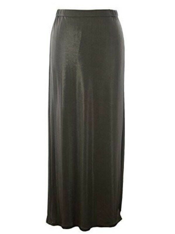 NWT  460 MARINA RINALDI C50 Olive Green Maxi Skirt Size M MADE IN ITALY