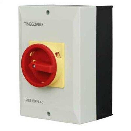 TimeGuard 40A 4 polos IP65 Cerrado Rotary Aislador Marca de Calidad
