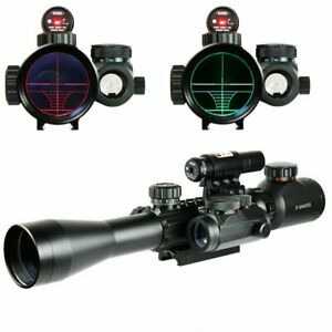 3-9X40 Illuminated Rifle Scope with Red Laser Sight & Holographic Dot Sight