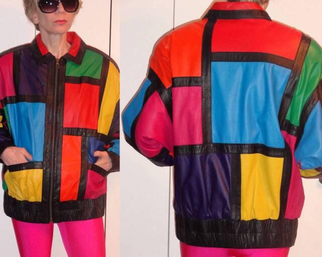 Avanti Avant-Garde Hip Hop MultiColor Geometric Block Genuine Leather Jacket M