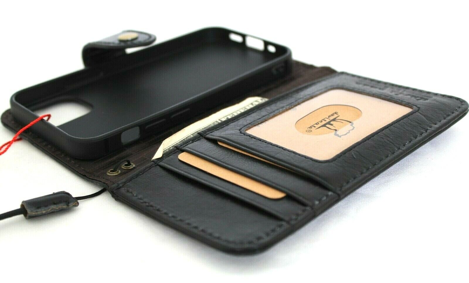Image 31 - Genuine Full Leather Case For Apple iPhone 12 Mini Wallet Luxury Cards Cover Bla