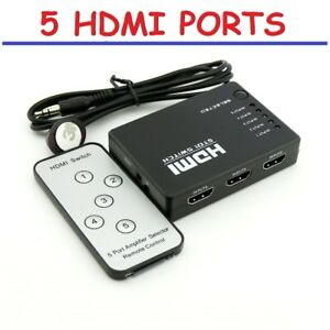 HDMI-5-Port-Selector-Switcher-Splitter-Switch-Hub-with-Remote-1080p-for-HDTV-PS3