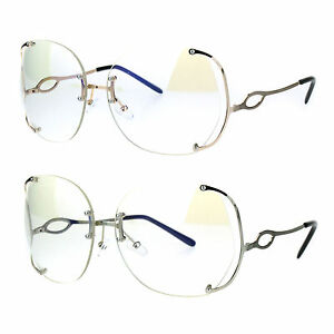 12cb01bd72 Image is loading Womens-Oversize-Clear-Lens-Rimless-Butterfly-Diva-Granny-