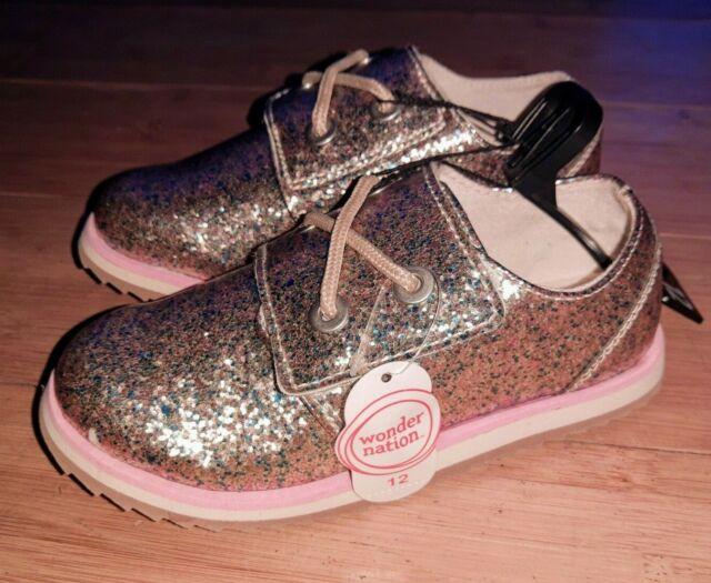 Wonder Nation Girls Plastic Sneaker Shoes Black Slip On Size 9//10 NEW