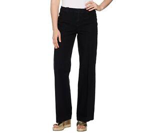Isaac-Mizrahi-Women-039-s-Petite-24-7-Denim-Fly-Front-Wide-Leg-Jeans-Size-14P-QVC
