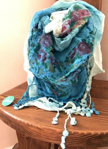 Boho hippy TURQUOISE BLUE pretty LETTUCE OF LONDON scarf wrap pashmina gift