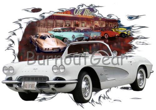 1961 White Chevy Corvette b Custom Hot Rod Diner T-Shirt 61 Muscle Car Tees