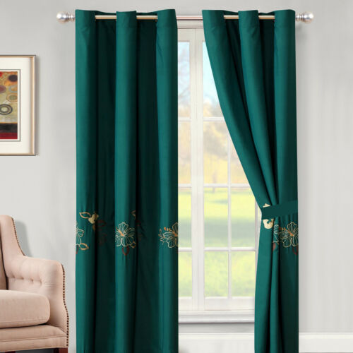 4P Taye Tropic Floral Blossom Embroidery Curtain Set Teal Green Gold Sheer Liner