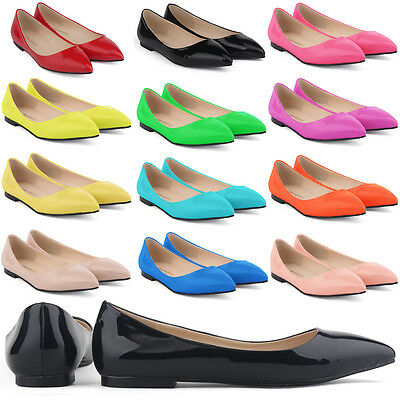 WOMENS FAUX LEATHER PATENT FLATS DOLLY BALLET PUMPS WORK SHOES UK SIZE 2 - 9