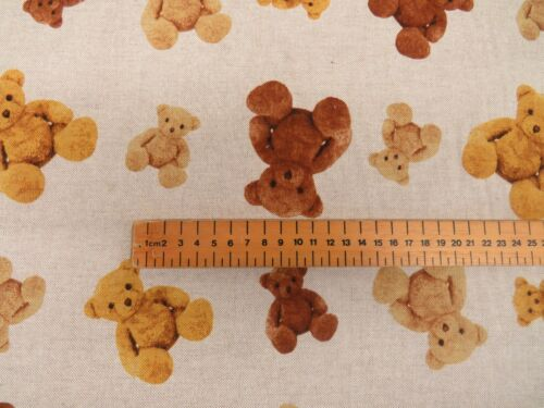 Designer Teddy Bear Toys Linen Look Cotton Fabric Curtain Upholstery Quilting
