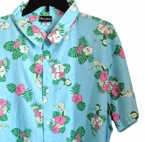 Rick-And-Morty-2XL-Men-039-s-Button-Down-Shirt-in-Blue-Hawaiian-Pink-Florals-Tee