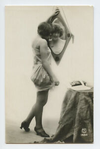 RPPC French nude woman lady vintage original ca.1920 real