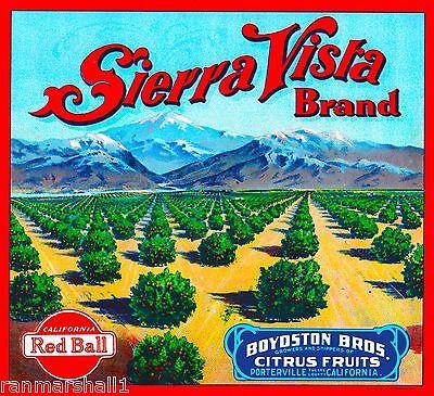 Porterville California Sierra Vista Orange Citrus Fruit Crate Label Art Print