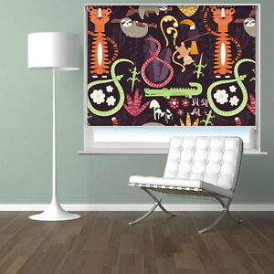 Cartoon-Jungle-Animals-Dark-Pattern-Printed-Photo-Picture-Roller-Blind-Blackout