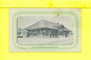 NY-Gouverneur-1913-antique-postcard-RAILROAD-DEPOT-CENTRAL-TO-BURRS-MILLS