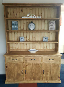 Solid Wood Rustic Chunky Plank Wooden Kitchen Dresser Display Unit