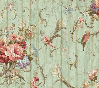3 DOUBLE ROLLS York Vintage Victorian Floral Bird Rose Blue Green Wallpaper