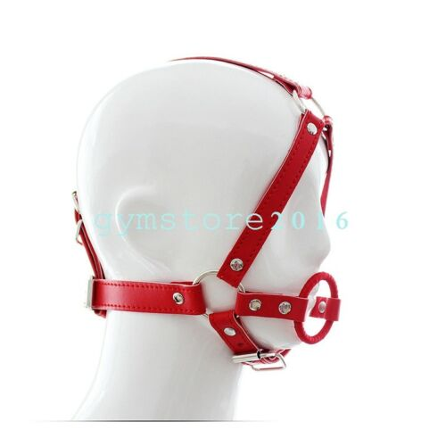 New PU Leather Rubber O-Ring Open Mouth Gag with Full Head Harness Belt Slave