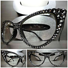 Women's VINTAGE CAT EYE Clear Lens EYE GLASSES FRAMES Hematite Crystals Handmade