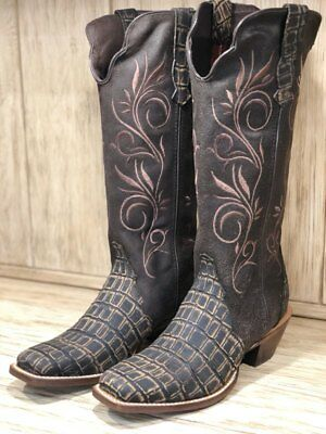 Twisted X Boys Caiman Print Cowboy Boot Square Toe