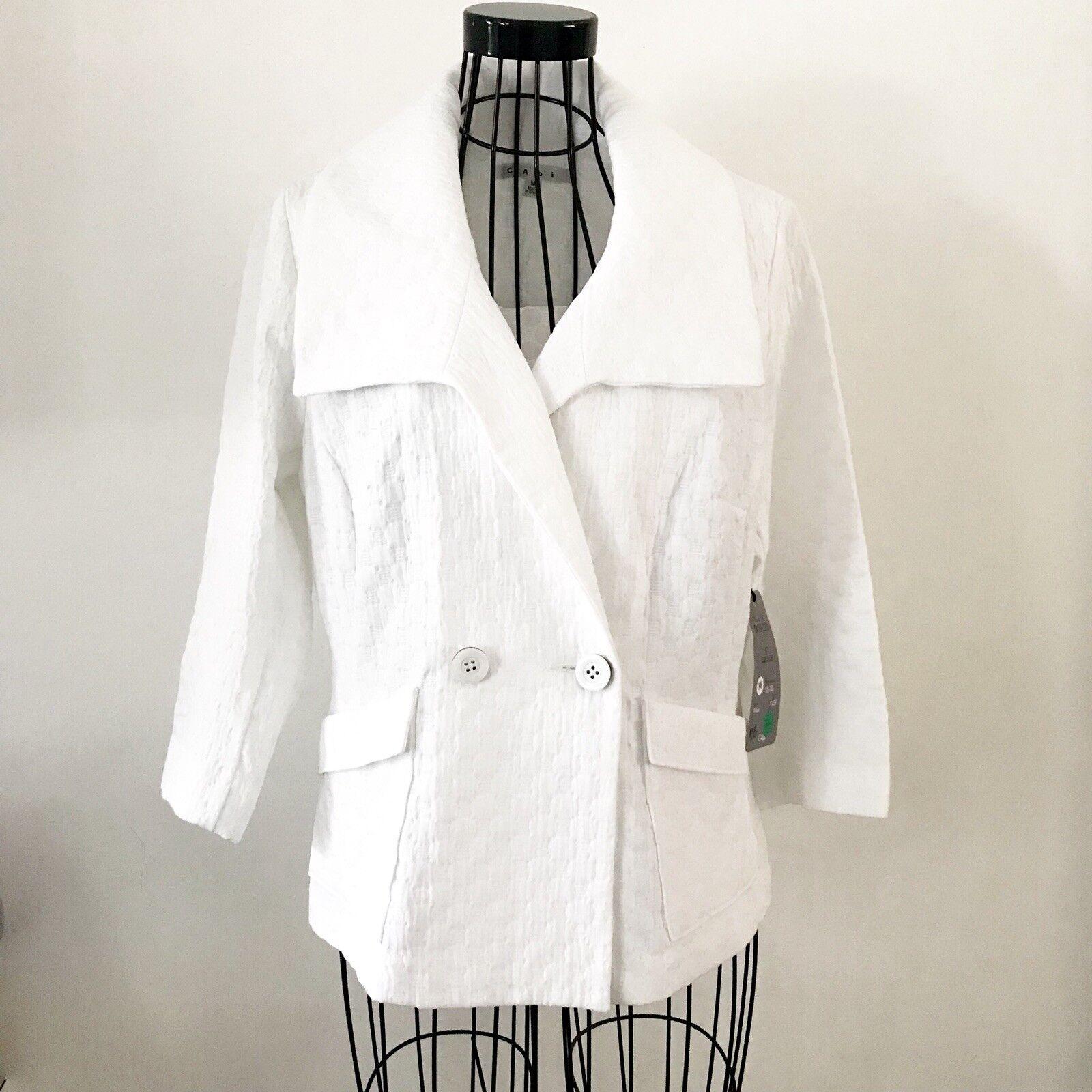 CAbi White Club Blazer Spring 2015 Women's Size Medium Style  4 Sleeve