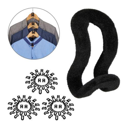 90 x Bügelorganizer Kleiderbügelhaken Samt Hakenorganizer Kleiderbügel schwarz