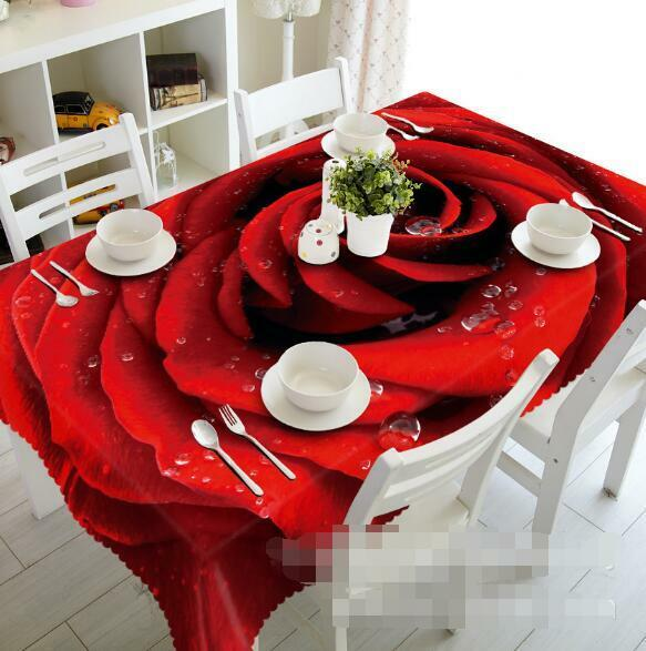 3D Dews Rose 4 Tablecloth Table Cover Cloth Birthday Party Event AJ WALLPAPER AU