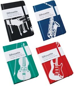 Pocket Notebook Instrument Theme A6 - Silhouette Piano, Guitar, Violin , Sax