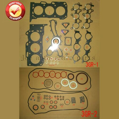 3GR 3GRFE Engine Full gasket set kit for Toyota Crown//Reiz 2.5L 3.0L Lexus IS//GS