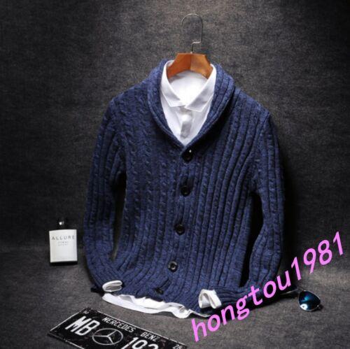 a Giacca da coreano lunghe in maglia in maglione cotone in bottoni a maniche uomo con cotone elegante lavorato 44xTrqY