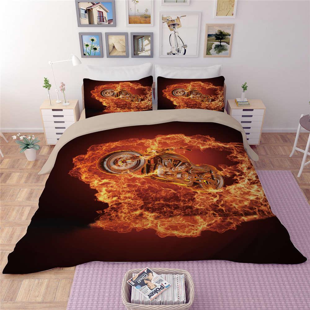 Walking Through Flames 3D Digital Print Bedding Duvet Quilt Cover Pillowcase