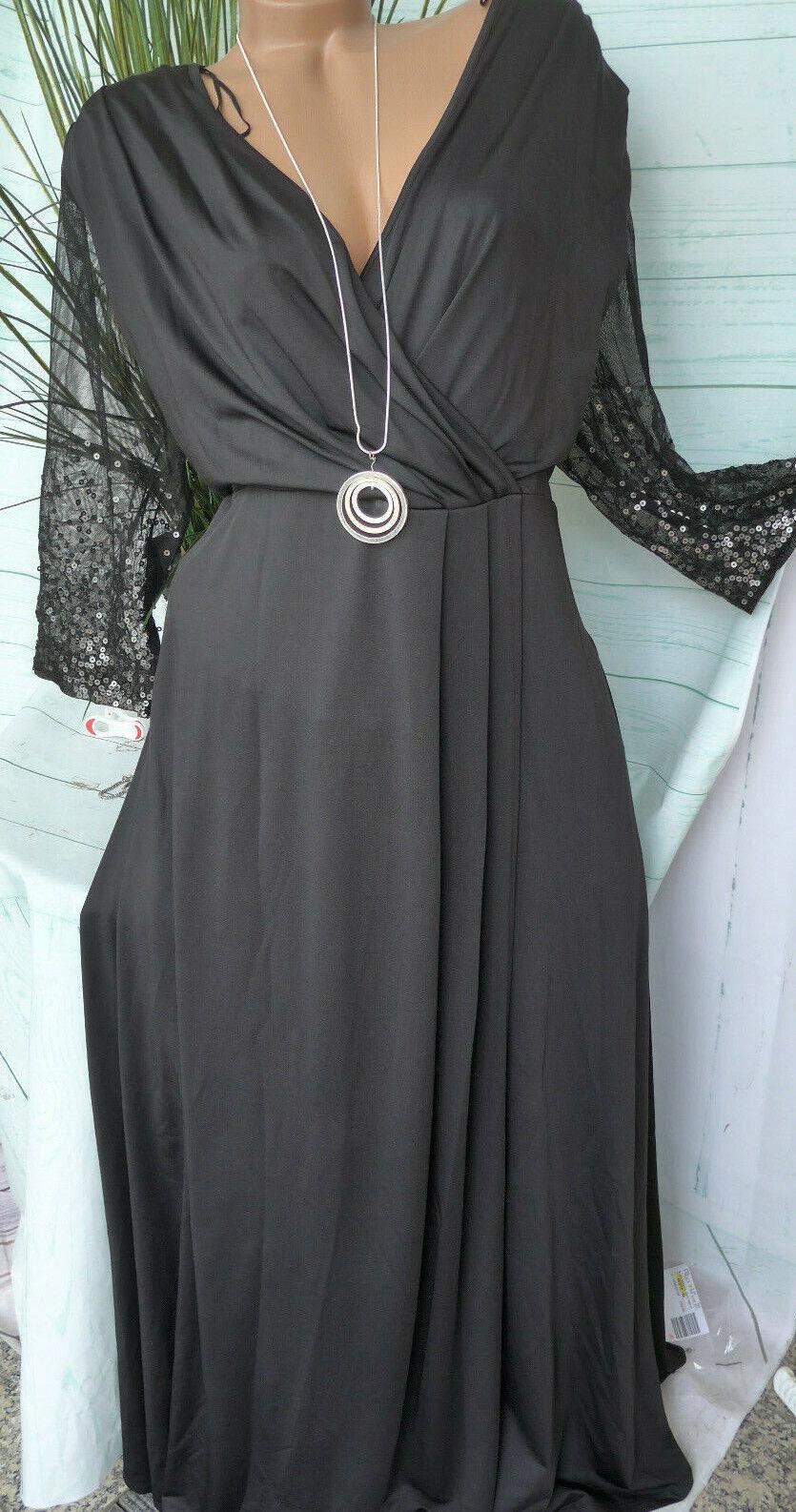 Sheego Eventkleid Abendkleid Kleid mit Pailletten Gr. 50 und 52 Schwarz (941)
