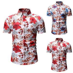 Homme-Chemise-A-Manches-Courtes-Floral-Imprime-Hauts-Ete-Hawaienne-Taille-M-3XL