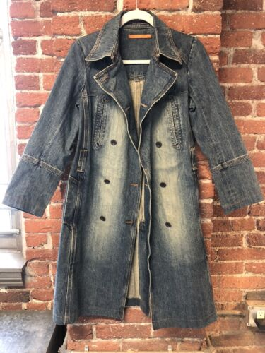 1970s Vintage Vintage Denim Sustainable Style Denim Trench Coat 70s Style Vintage Fully Lined Denim Butterfly Trench |