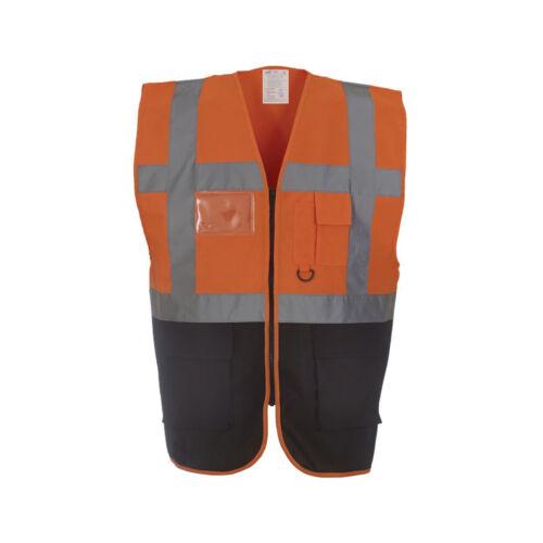 Personalised Custom Printed Hi Vis Colour Executive Vest Zip Phone /& ID Pockets