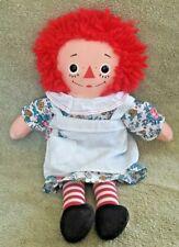 "Vintage ~ 1980's RAGGEDY ANN ~ Cloth Rag Doll ""I Love You"" Heart Yarn Hair 12"""