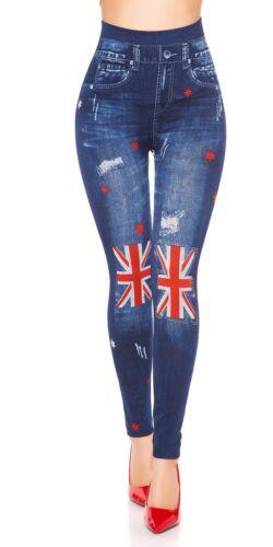 High Waist Jeanslook Slim Jeggings Leggings mit Union Jack /& Strass