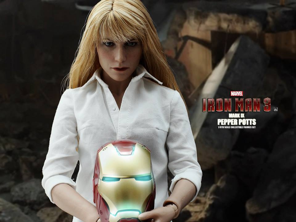 IRON MAN  Pepper Potts and MARK IX (Mark 09) SET 1 6 Action Figure 12  HOT TOYS